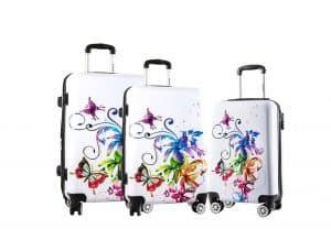ENSEMBLE de 3 valises rigides pas cher Madisson papillons