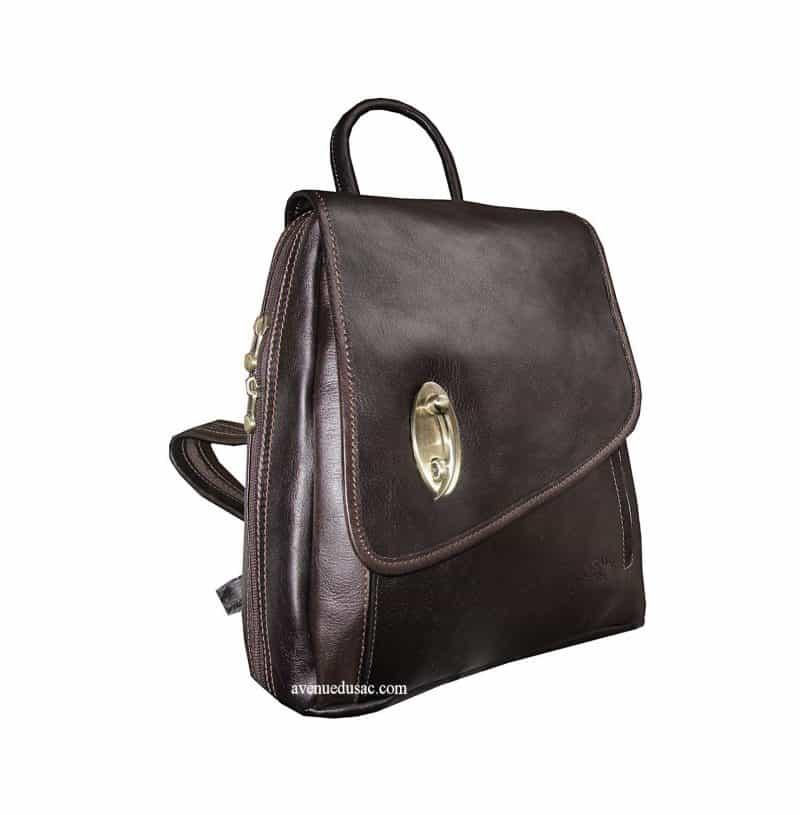 sac à dos cuir femme katana pas cher marron foncé