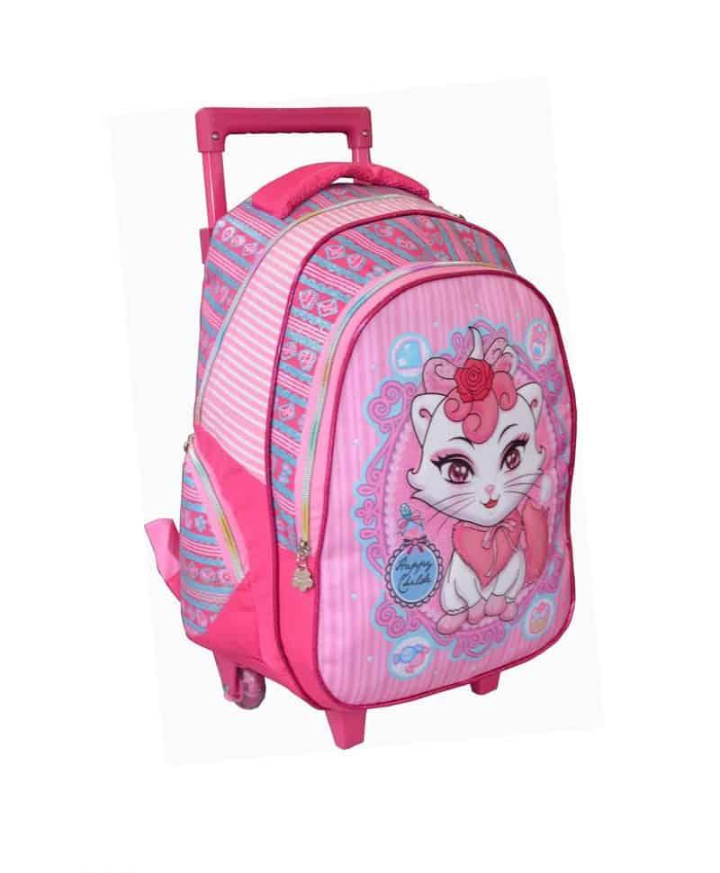 sac à dos roulettes rose chaton madisson