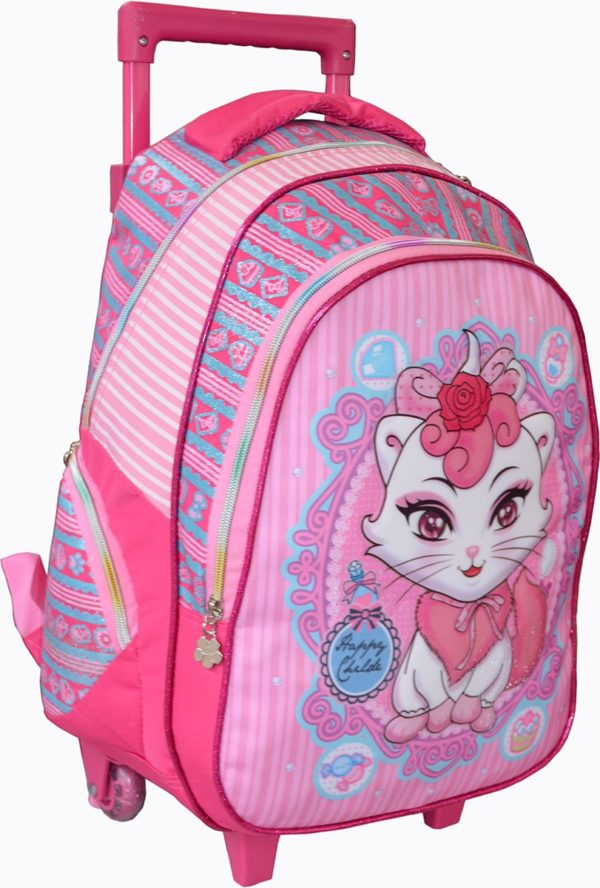 Sac à dos trolley scolaire Rose chaton