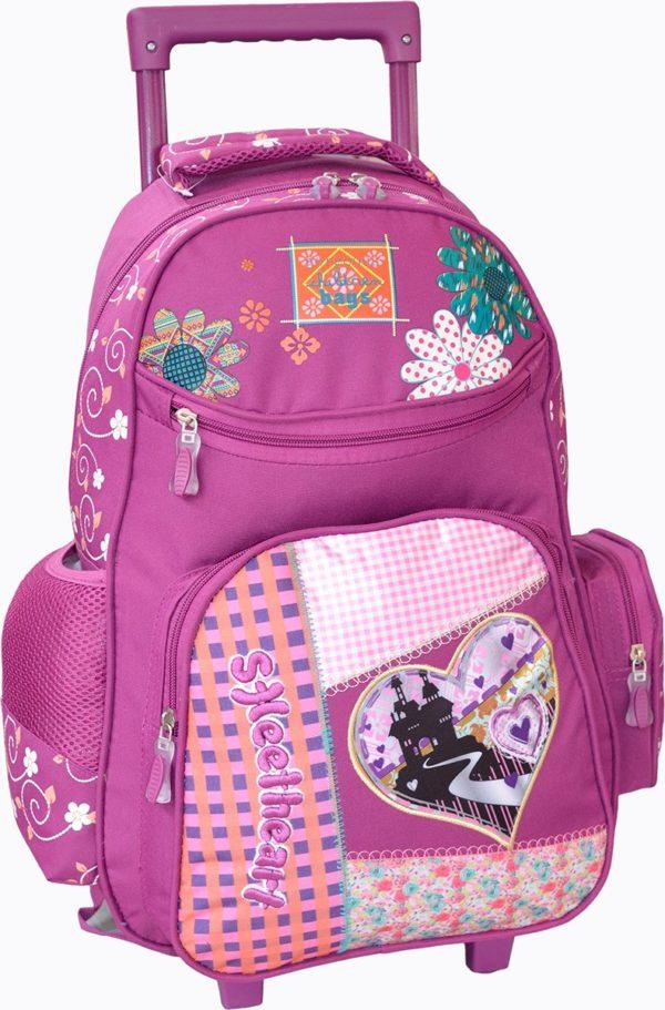 Sac à dos trolley scolaire Violet pour fille
