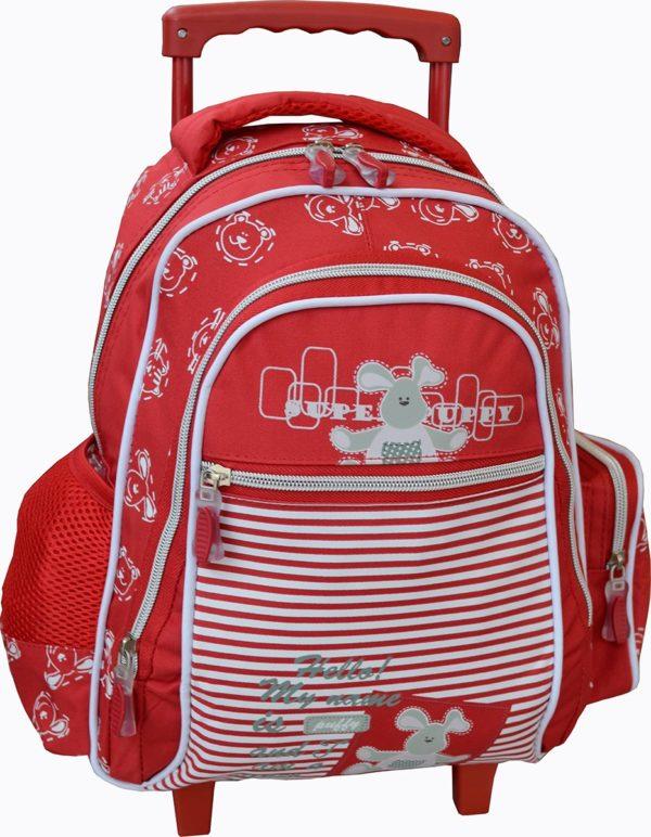 Sac à dos trolley scolaire Rouge Nounours