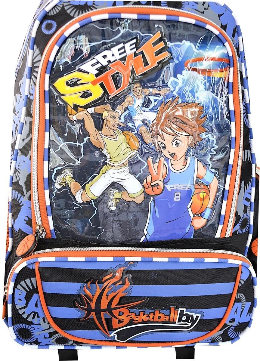 Sac à dos à roulettes scolaire bleu pour garçon