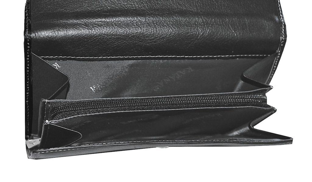 Portefeuille en Cuir gras noir pour femme