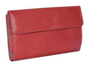 Porte-feuille et porte chéquier en cuir rouge katana
