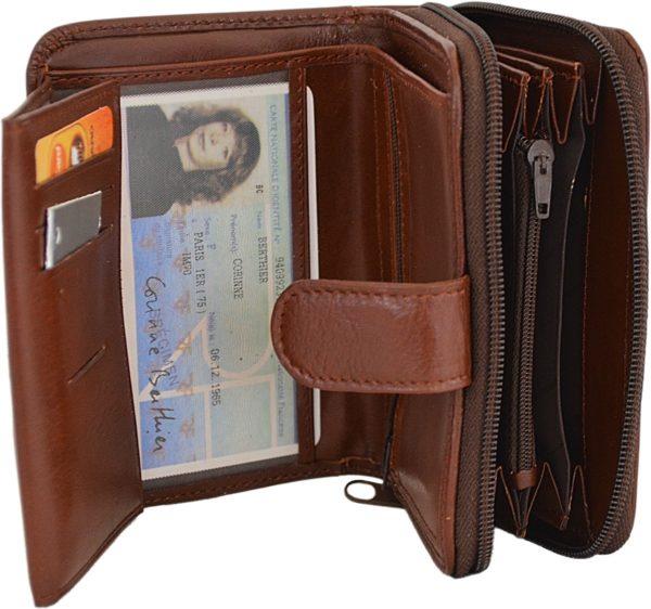 Porte monnaie et cartes en cuir pour femme