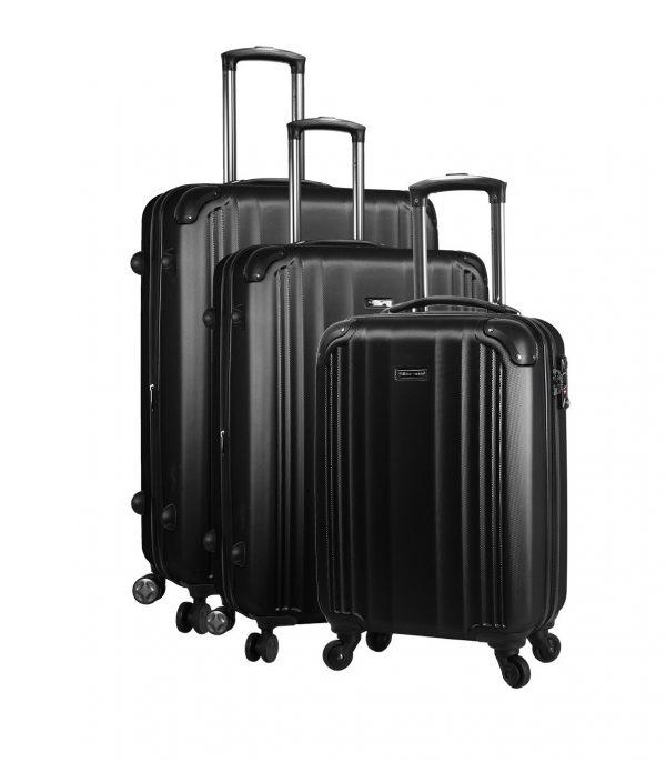 ensemble de 3 valises rigides pas cher snowball noir