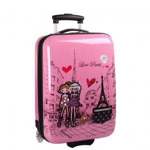 """Valise cabine rose pour fille """"Love Paris"""""""