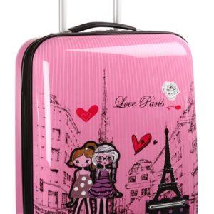 Valise cabine rose Love Paris pour enfant -Idée Cadeau.