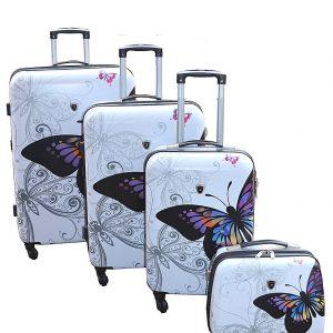 """Set de 3 Valises et vanity case """"Papillons"""""""