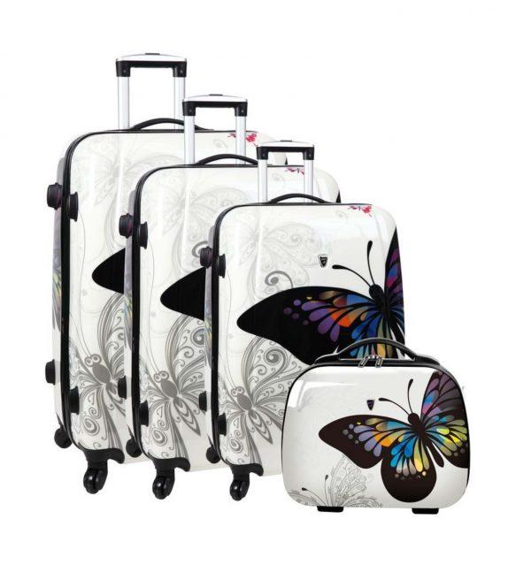 ensemble de 3 valises imprimé papillon blanc madisson