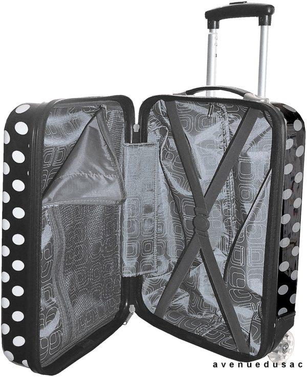Valise cabine à pois Noir pour enfant pas cher