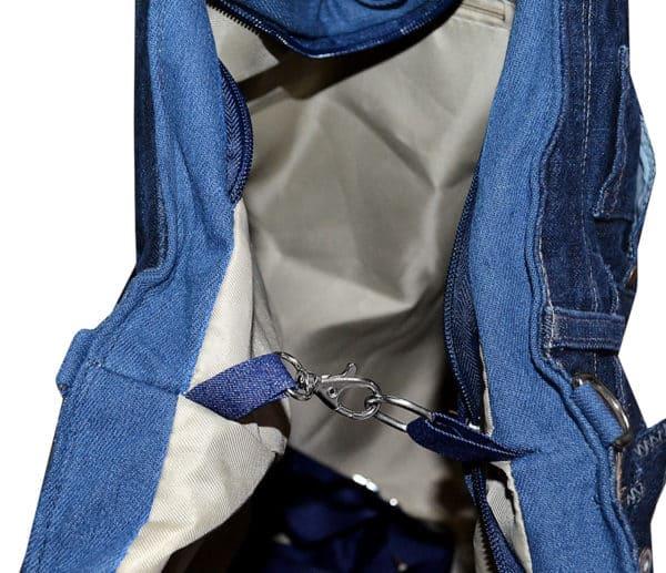 Sac cabas shopping A4 pour fille en jeans étoile