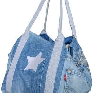 Sac cabas shopping A4 pour fille en jean étoile
