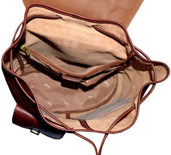 Sac à dos en cuir à 2 poches Marron pour femme et homme - Katana.