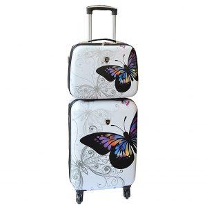 "Set valise cabine et vanity case ""Papillons"""