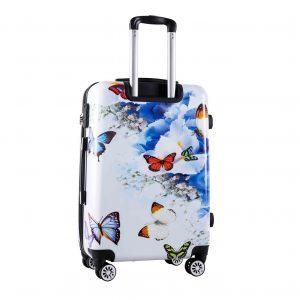 Valise cabine 55 cm rigide Papillons et fleurs