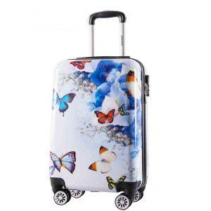 """Valise cabine """"Papillons et fleurs"""""""