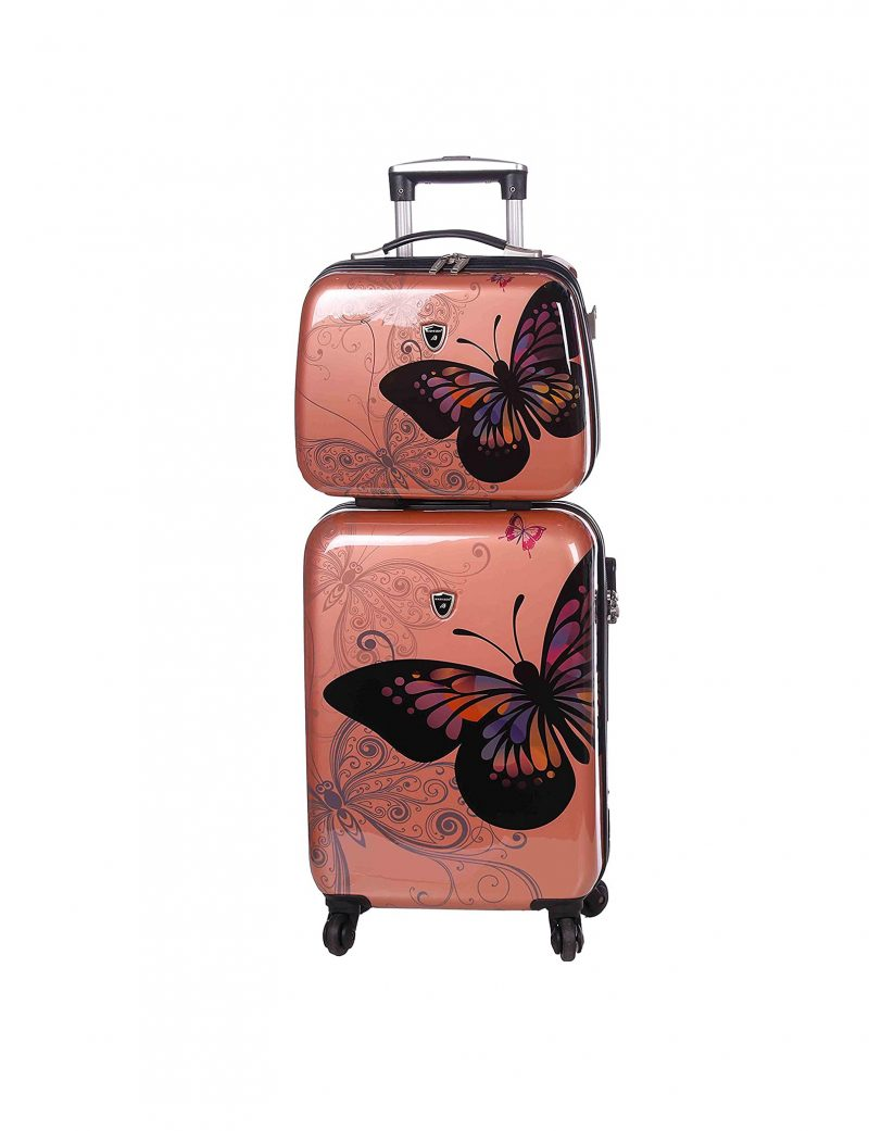 ensemble valise cabine et vanity case gold