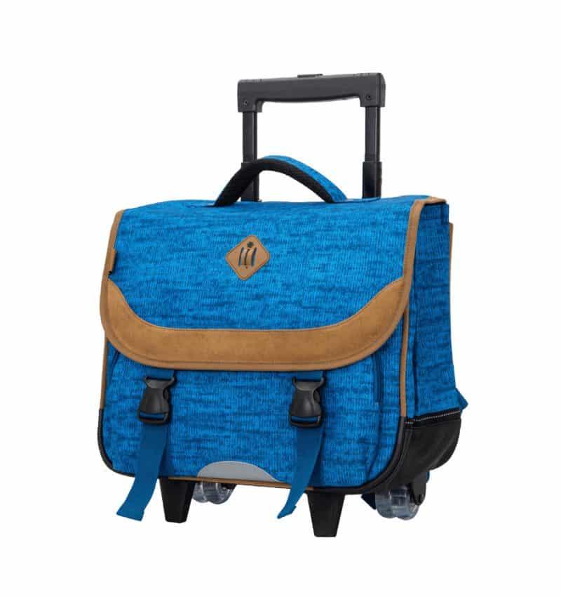 Cartable scolaire roulettes cm1 cm2 bleu