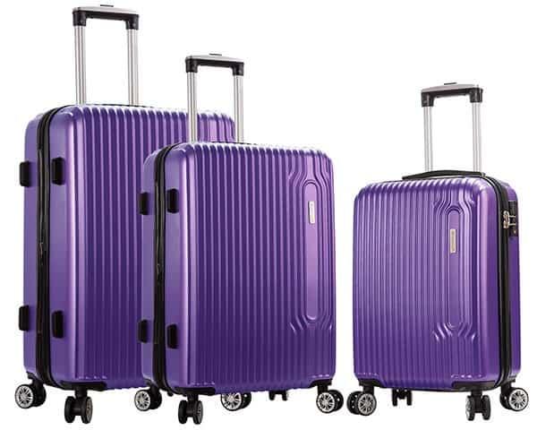 SET 3 valises rigides Snowball 4 roues pas cher violet