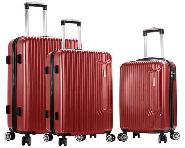 SET 3 valises rigides Snowball 4 roues pas cher rouge