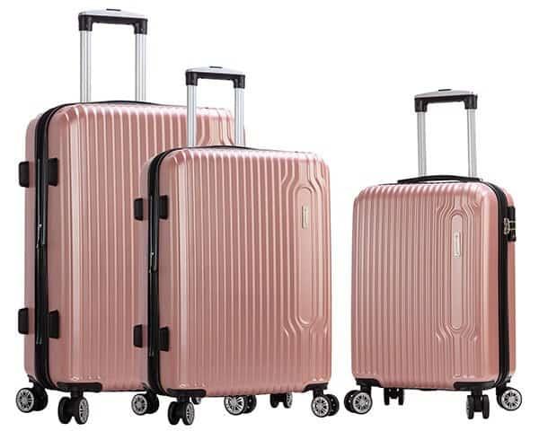 SET 3 valises rigides Snowball 4 roues pas cher rose