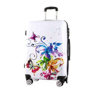 Valise rigide 76 cm Orchidées/Papillons