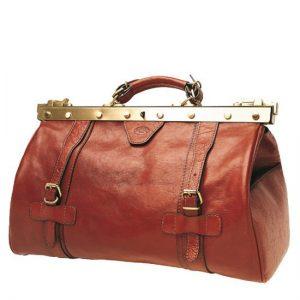 sac de voyage en cuir pas cher Katana marron 40 cm