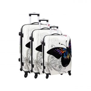 "Ensemble de 3 valises rigides ""Papillon"""