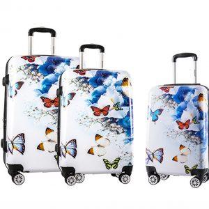"""Ensemble de 3 valises """"Papillons Fleurs"""""""