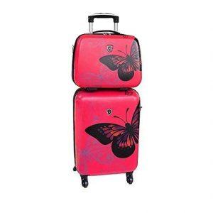 set valise cabine et vanity case rose 16820B