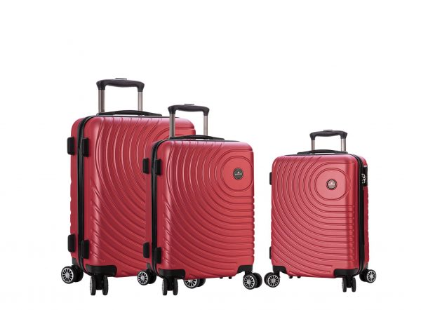ensemble de 3 valises rigides pas cher rouge madisson 93303