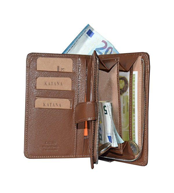 portefeuille en cuir pour femme marron pas cher katana 95324