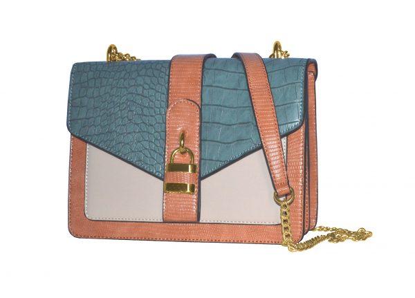 petit Sac bandoulière bicolore à chainettes 282221 bleu