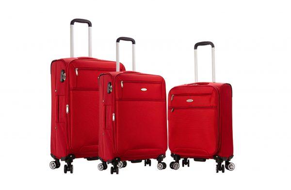 ensemble de 3 valises souples rouge snowball pas cher 95203M