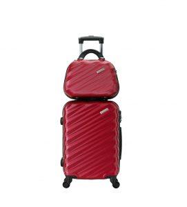 ensemble valise cabine et vanity rouge madisson 02002