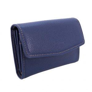 Petit porte monnaie en cuir pour femme – Bleu