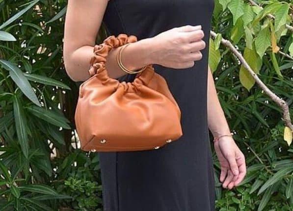 sac à main froncé gold pour femme
