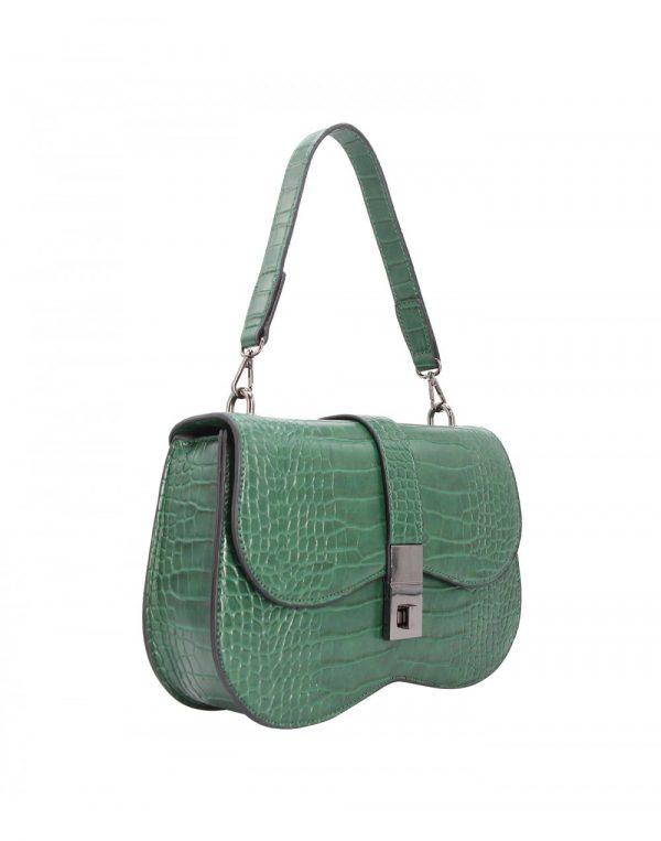 sac à main effet croco vert