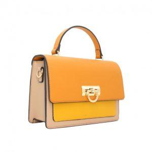sac à main tricolore moutarde