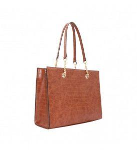sac à main A4 croco marron
