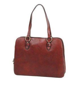 sac à main shopping en cuir katana marron