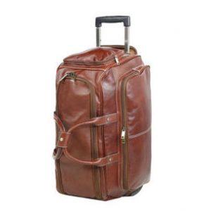 sac de voyage en cuir à roulettes katana marron