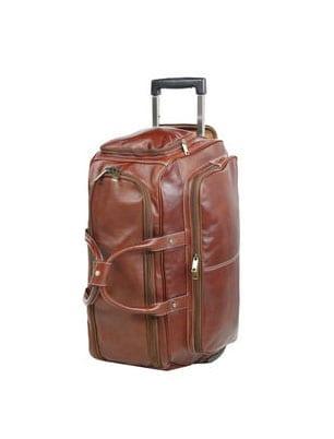 sac de voyage cuir à roulettes MARRON