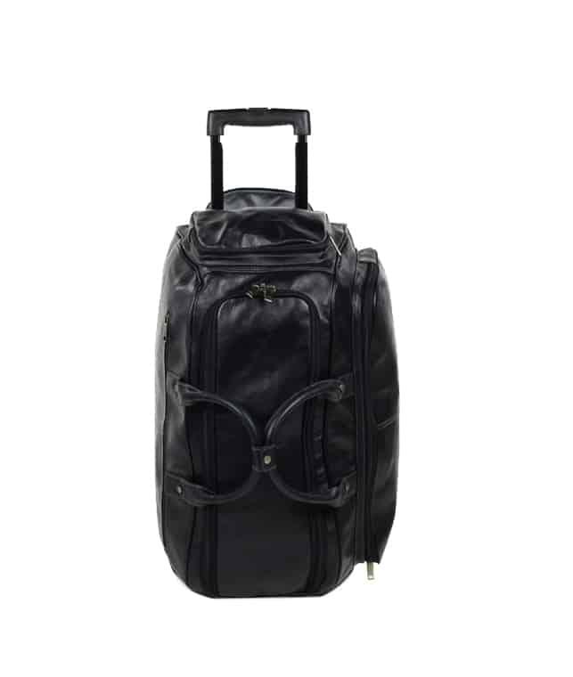 sac de voyage cuir à roulettes noir