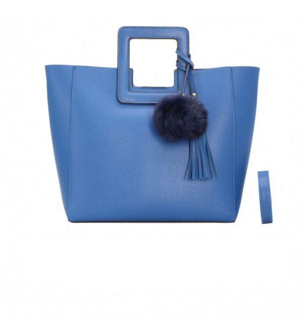 sac à main femme bleu trapèze