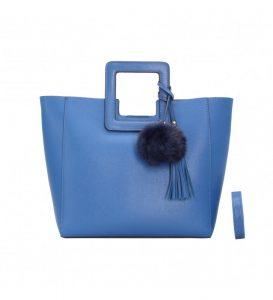 sac à main bleu trapèze pour femme