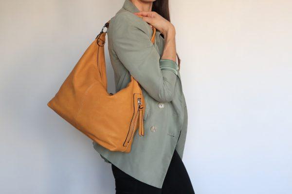 sac à main porté épaule jaune pour femme