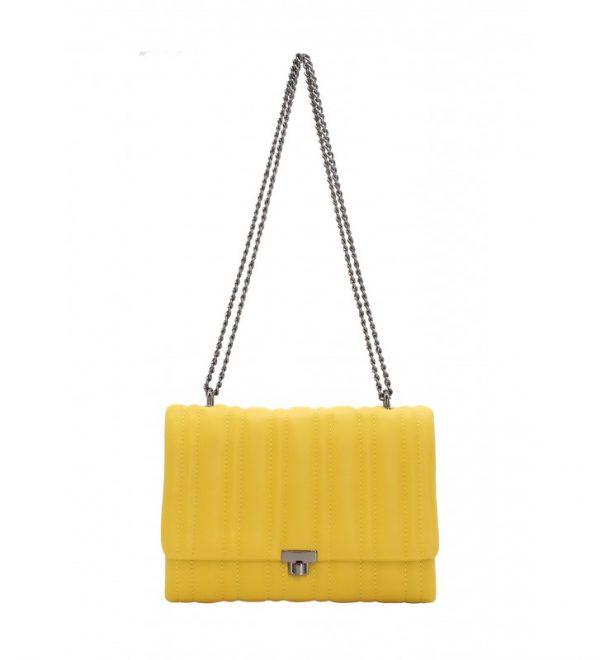 sac bandoulière matelassé jaune